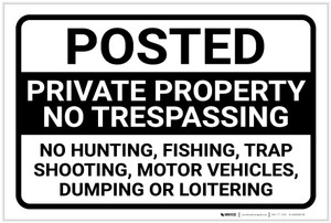 Posted: Private Property No Trespassing Landscape - Label