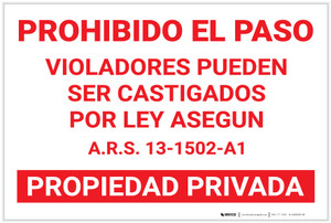 Posted: Private Property Spanish Landscape - Label