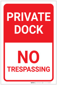 Private Dock No Trespassing Portrait - Label