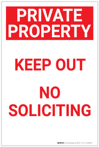 Private Property: Keep Out No Soliciting Red Portrait - Label