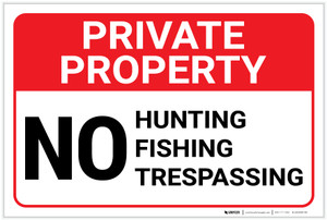 Private Property: No Hunting Fishing Trespassing Landscape - Label