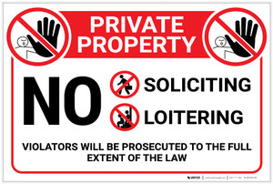 Private Property: No Soliciting Loitering with Icons Landscape - Label