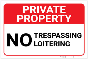 Private Property: No Trespassing Loitering Landscape - Label