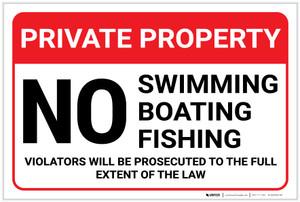 Private Property: No Swimming Boating Fishing Violators Prosecuted Landscape - Label