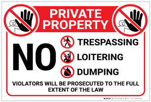 Private Property: No Trespassing/Loitering/Dumping - Violators Will be Prosecuted - Label