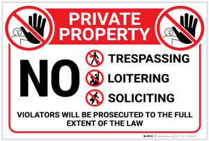 Private Property: No Trespassing Loitering Dumping with Icons Violators Prosecuted Landscape - Label