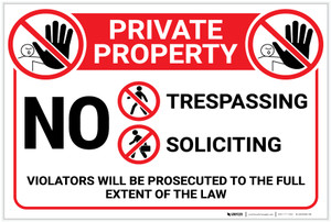 Private Property: No Trespassing Soliciting With Icons Violators Prosecuted Landscape - Label