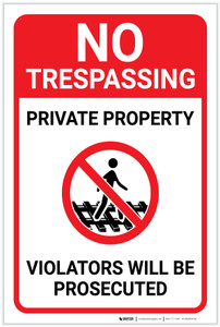 No Trespassing: Private Property Violators Prosecuted Walking on Tracks Icon Portrait - Label