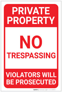 Private Property: Private Property Trespassing Underlined Violators Prosecuted Landscape - Label