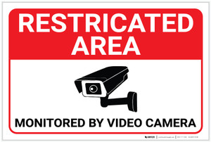 Restricted Area: Restricted Area Monitored By Video Camera Icon Landscape - Label
