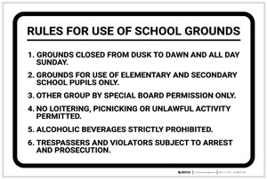 Rules For Use of School Grounds: Numbered List Six Rules Landscape - Label