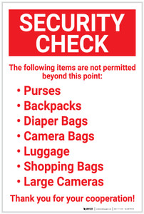 Security Check: Following Items Are Not Permitted Beyond This Point Bulleted List Portrait  - Label