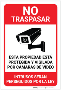 No Trespassing: This Property Is Protected By Video Surveillance Alarm In Use Video Camera Icon Spanish Portrait - Label