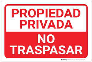 Private Property: No Trespassing Spanish Landscape - Label
