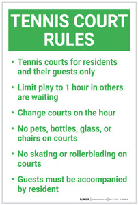 Tennis Court Rules: Four Rules Number Bulleted List Landscape - Label