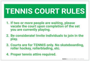Tennis Court Rules: Six Rules Bulleted List Portrait - Label