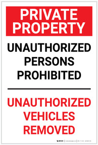 Private Property: Unauthorized Persons Prohibited Vehicles Removed  - Label