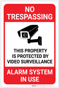 No Trespassing: This Property Is Protected By Video Surveillance Alarm In Use Video Camera Icon Portrait - Label