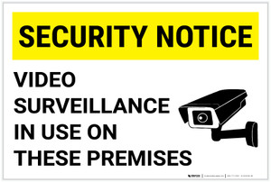 Security Notice: Video Surveillance In Use On These Premises Video Camera Icon Landscape - Label