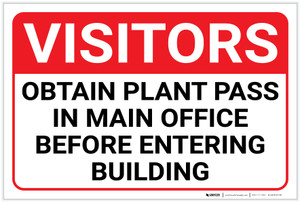 Visitors: Obtain Plant Pass In Main Office Before Entering Building Landscape - Label