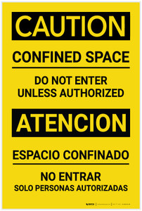 Caution: Confined Space - Do not Enter Unless Authorized - Label