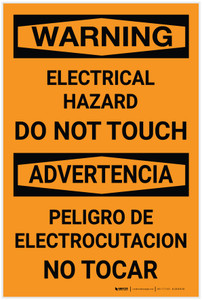 Warning: Electrical Hazard Do Not Touch Bilingual Spanish - Label