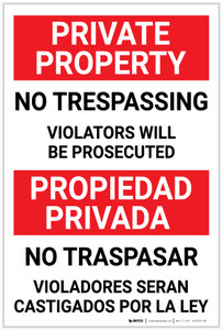 Private Property: No Trespassing - Violators Will be Prosecuted Bilingual Spanish - Label