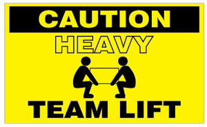 Caution Heavy Team Lift  3 x 5 - Label Roll