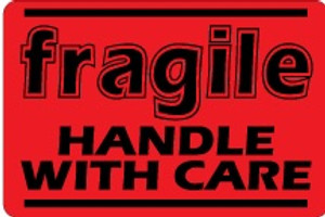 Fragile Handle With Care (Fluorescent Red) 2 x 3 - Label Roll