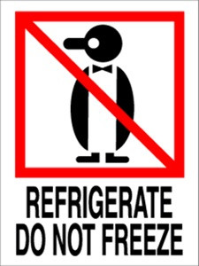 International Refrigerate Do Not Freeze  3 x 4 - Label Roll