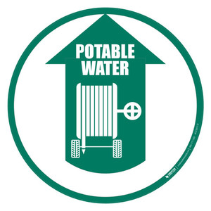 Potable Water Hose with Wheels (Arrow Up) - Floor Sign