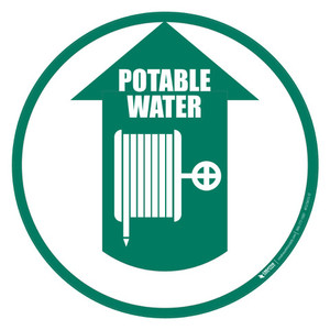 Potable Water Hose (Arrow Up) - Floor Sign