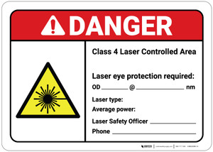 Danger: Class 4 Laser Controlled Area (Write-In) ANSI - Wall Sign