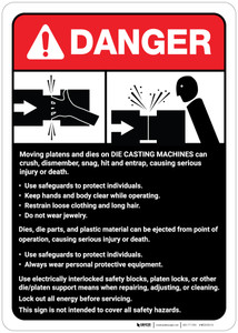 Danger: Die Casting Machine Guidelines ANSI - Wall Sign