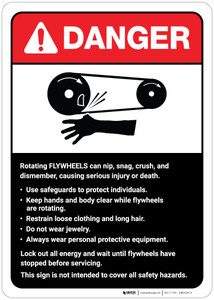 Danger: Flywheels Guidelines ANSI - Wall Sign