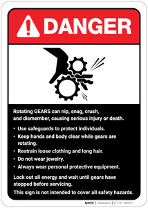 Danger: Rotating Gears Guidelines ANSI - Wall Sign