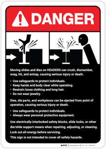 Danger: Moving Slides/Headers Guidelines ANSI - Wall Sign