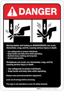 Danger: Ironworkers Guidelines ANSI - Wall Sign