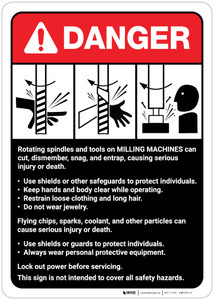 Danger: Milling Machine Guidelines ANSI - Wall Sign