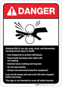 Danger: Rotating Rolls Machine Guidelines ANSI - Wall Sign