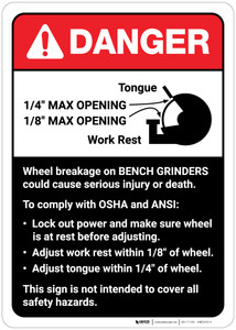 Danger: Wheel Breakage/Bench Grinder Guidelines ANSI - Wall Sign