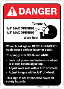 Danger: Wheel Breakage/Bench Grinder Guidelines ANSI - Wall Sign