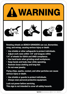 Warning: Bench Grinder Machine Guidelines ANSI - Wall Sign