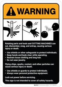 Warning: Cutting Machine Guidelines ANSI - Wall Sign
