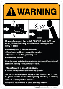 Warning: Die Casting Machine Guidelines ANSI - Wall Sign