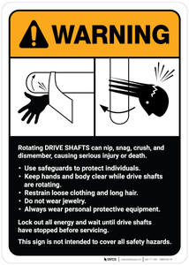 Warning: Drive Shaft Machine Guidelines ANSI - Wall Sign