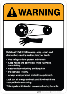 Warning: Flywheels Guidelines ANSI - Wall Sign