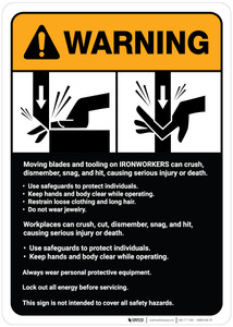 Warning: Ironworkers Guidelines ANSI - Wall Sign