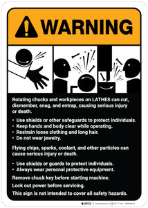 Warning: Lathe Machine Guidelines ANSI - Wall Sign