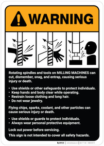 Warning: Milling Machine Guidelines ANSI - Wall Sign